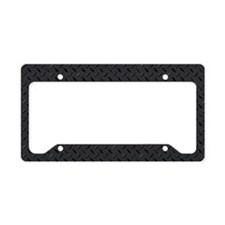 Logo on diamond-plated metal License Plate Holder