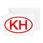 KH Oval (Red) Greeting Cards (Pk of 10)