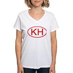 KH Oval (Red) Women's V-Neck T-Shirt