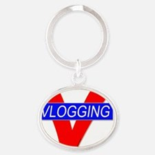 V for Vlogging Oval Keychain