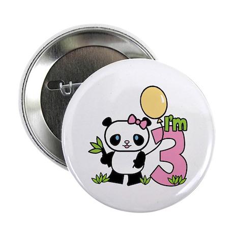 """Lil' Panda Girl 3rd Birthday 2.25"""" Button (100 pac"""