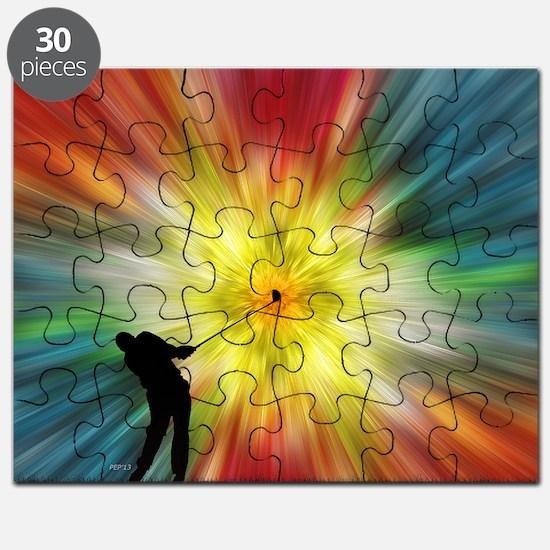 Tie Dye Silhouette Golfer Puzzle