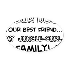 Jungle Curl Cat family Oval Car Magnet