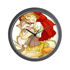 Red and Little Wolf Wall Clock