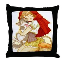Red and Little Wolf Throw Pillow