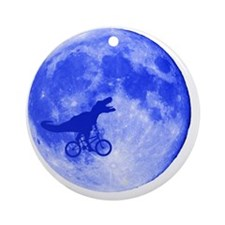 TRex Moon Round Ornament