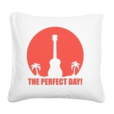 Perfect Sunset Ukulele Square Canvas Pillow