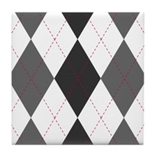 Gray and Red Argyle Tile Coaster