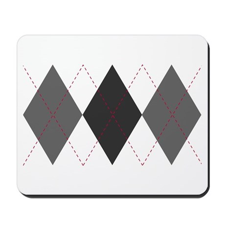 Gray and Red Argyle Mousepad