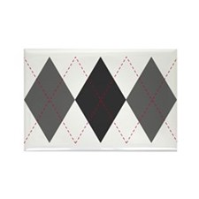 Gray and Red Argyle Rectangle Magnet