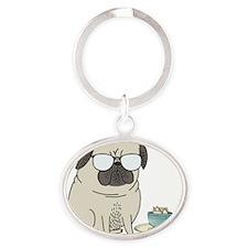 tea time for Mr Pug Oval Keychain