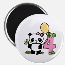 Lil' Panda Girl 4th Birthday Magnet