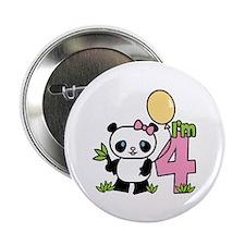 """Lil' Panda Girl 4th Birthday 2.25"""" Button (100 pac"""
