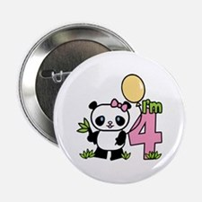 Lil' Panda Girl 4th Birthday Button