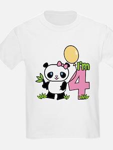 Lil' Panda Girl 4th Birthday T-Shirt