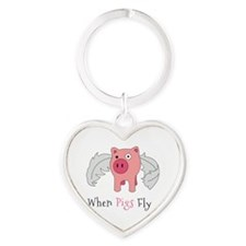 When Pigs Fly Heart Keychain