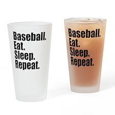 Baseball Eat Sleep Repeat Drinking Glass