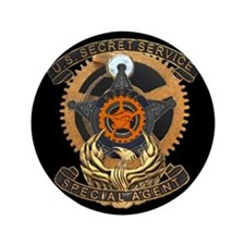 "Steampunk Secret Service Badge 3.5"" Button"