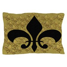 Fleur de lis bling black and gold Pillow Case