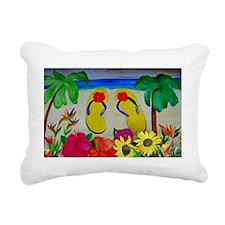 Flowers and Flip Flops B Rectangular Canvas Pillow