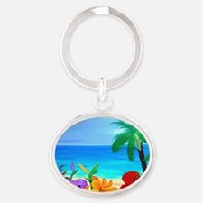 Tropical Beach Oval Keychain