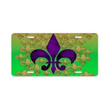 Purple fleur de lis Aluminum License Plate