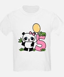Lil' Panda Girl 5th Birthday T-Shirt