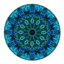 Blue Green flower gems Round Car Magnet