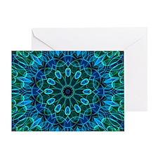 Blue Green flower gems Greeting Card