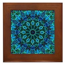 Blue Green flower gems Framed Tile