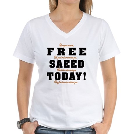 FREE SAEED TODAY Women's V-Neck T-Shirt