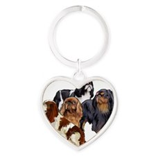 English Toy Spaniels Heart Keychain
