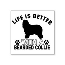 "Life is better with a Beard Square Sticker 3"" x 3"""