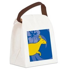 Kangaroo Round Compact Mirror Canvas Lunch Bag