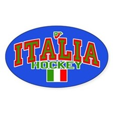 IT Italy Italia Hockey Oval Bumper Stickers