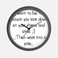 Look down at your phone and smile.. Wall Clock