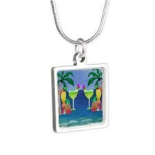 Tropical Drinks Silver Square Necklace