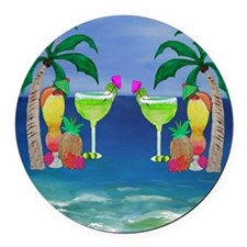 Tropical Drinks Round Car Magnet