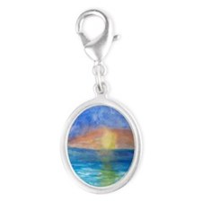 Ocean Beach Sunset Silver Oval Charm