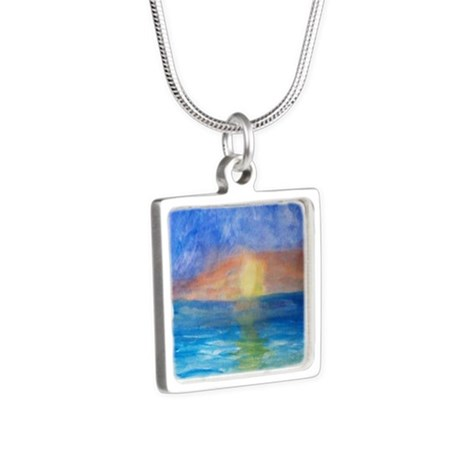 Ocean Beach Sunset Silver Square Necklace