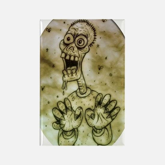 Cartoon Zombie Rectangle Magnet