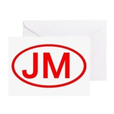 JM Oval (Red) Greeting Cards (Pk of 10)