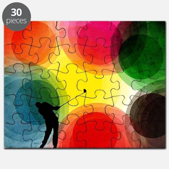 Colorful Retro Silhouette Golfer Puzzle