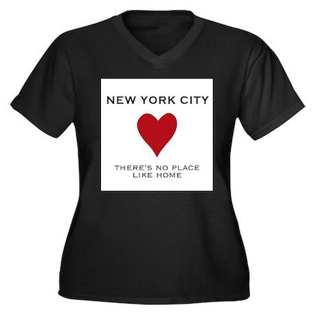 NYC Women's Plus Size V-Neck Dark T-Shirt
