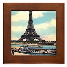 Vntage Eiffel Tower Boat Framed Tile