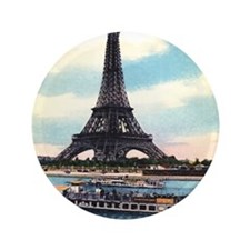 "Vntage Eiffel Tower Boat 3.5"" Button"