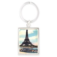 Vntage Eiffel Tower Boat Portrait Keychain