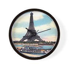 Vntage Eiffel Tower Boat Wall Clock