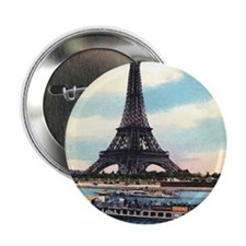 "Vntage Eiffel Tower Boat 2.25"" Button"