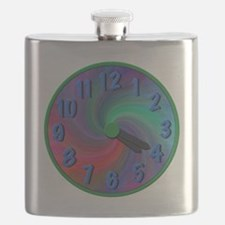 Abstract spiral 4:20 clock, gifts Flask